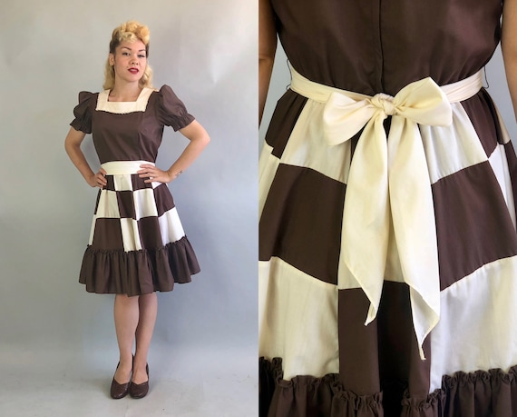 Vintage 1960s Dress   60s Chocolate Brown and White Puff-Sleeve Patio Square Dance Dress with Colorblock Skirt and Self-Fabric Sash   Medium