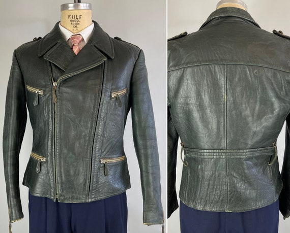 "1930s Dandy Delinquent Leather Jacket | Vintage 30s Black Motorcycle Jacket w/ Belted Back Flannel Lining & Art Deco ""Zipp"" Hardware | Large"