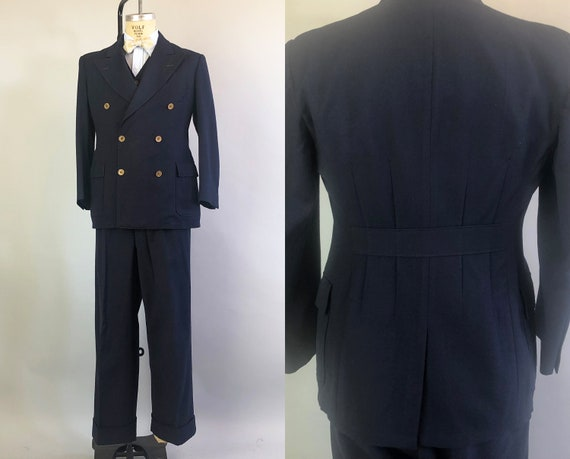 1930s Three Piece Belted Back Suit | Vintage 30s Mens Navy Blue Windowpane Wool Double Breasted Suit Jacket Vest & Trousers | Size 40 Medium