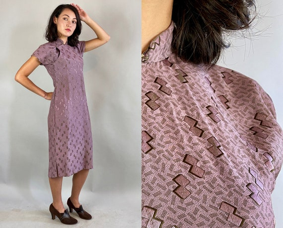 1930s Cherished Chinatown Cheongsam | Vintage 30s Lilac with Silver Geometric Figure Eights Silk Qipao Traditional Dress | Extra Small XS