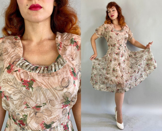 1940s Betsey's Best Bouquet Dress | Vintage 40s Sheer White Rayon Chiffon with Black Taupe Swirl & Pink Flower Print Frock | Extra Large XL