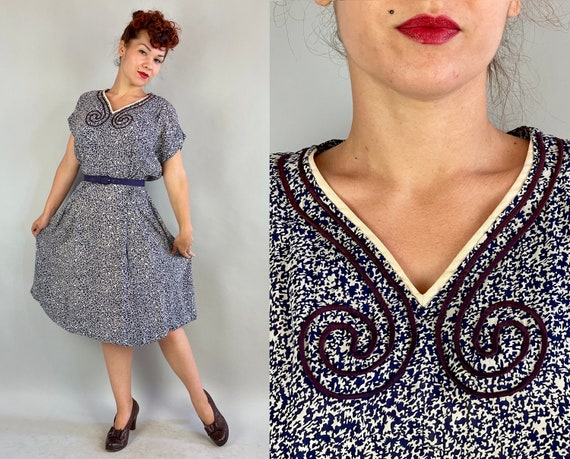 1940s Ink Blot Illusion Dress | Vintage 40s White and Blue Abstract Magic Eye Rayon Chiffon Frock with Purple Soutache | Extra Large XL