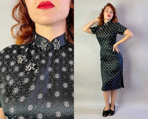 1950s Starry Night Cheongsam | Vintage 50s Black Silver Rayon Asian Emblem Brocade Qipoa Traditional Chinese Cocktail Evening Dress | Small