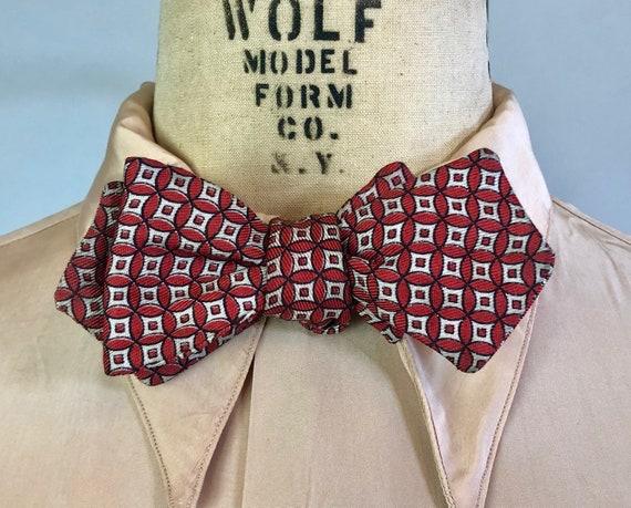1940s Dapper Dan Bowtie | Vintage 40s Batwing Crimson Red w/Black & White Geometric Pattern Silk Self Tie Adjustable Diamond Tip Bow Tie