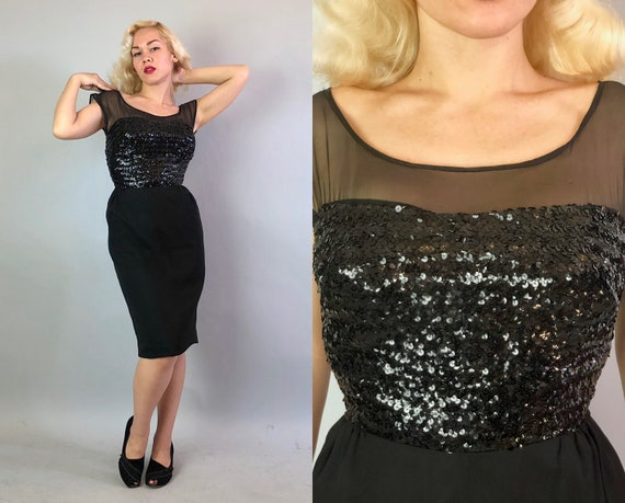 1950s Sultry Cocktail Dress | Vintage 50s Silk Chiffon Black Evening Party Frock w/Scoop Neck Sequined Bodice LBD Little Black Dress | Small