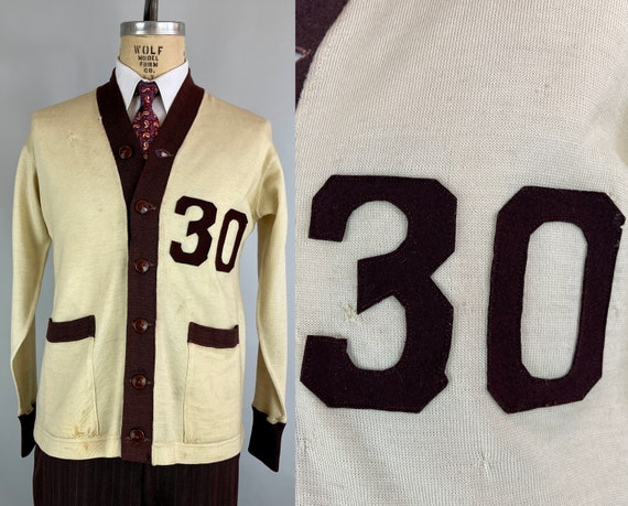 1930s Dated Collegiate Cardigan | Vintage 30s Ivory White and Aubergine Two-Tone School Sweater with Art Deco '30' Felt Patch! | Large/XL