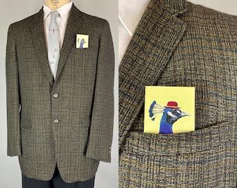 1950s Studley Stan Blazer | Vintage 50s Navy Blue Grey and Orange Plaid Wool Single Breasted Jacket Sport Coat | Size 40/42 Medium Large
