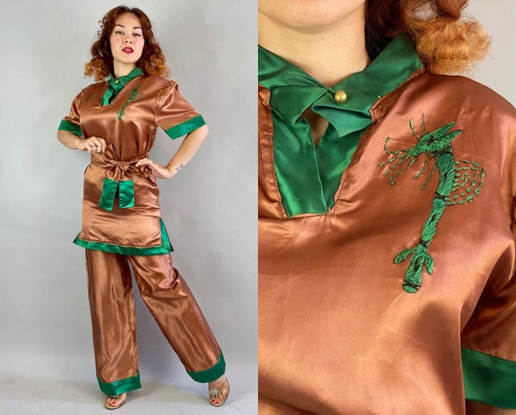 1940s Fantasy Island Loungewear Set | Vintage 40s