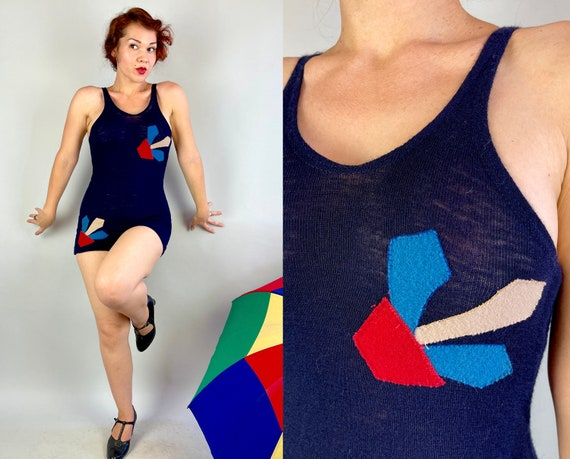 1920s Deco Dolly Swimsuit | Vintage 20s Navy Wool One Piece Bathing Suit with Red White and Blue Abstract Appliqués | Small/XS Extra Small