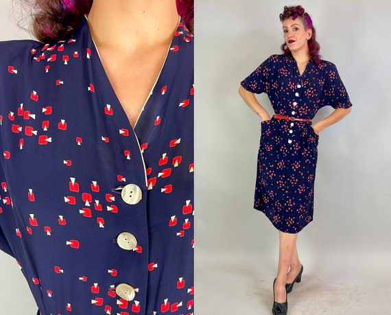 1940s Atomic Annie Dress | Vintage 40s Blue Red and White Abstract Print Rayon Shirtwaist Frock w/Shell Buttons and Pockets | Extra Large XL