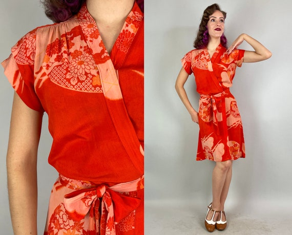 1930s Style Antique Kimono Wrap Dress | Vintage Orange and Pink Japanese Maple Leaf Mums Print Silk with Embroidery Upcycle Frock | Small