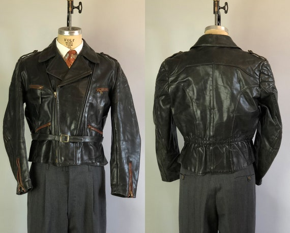 1930s Mens Motorcycle Jacket | Vintage 30s Jet Black Leather Flight Jacket w/Crimson Red Piping & Quilted Topstitching Detail | Medium/Large