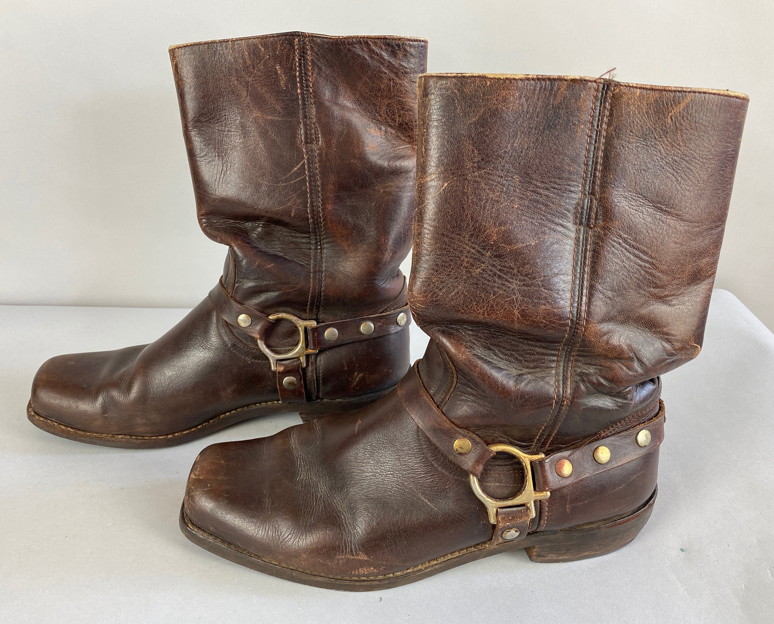 1940s Jewelry Styles and History 1940S The Wild One Boots  Vintage 40S Walnut Brown Leather Motorcycle Engineer Work Shoes with Studded Straps  Ring Size Us 11.5 1112 $22.00 AT vintagedancer.com