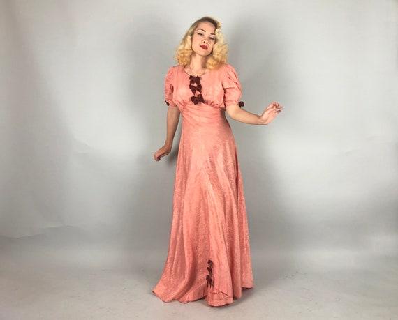 1930s Moiré Silk Gown   Vintage 30s Salmon Pink T… - image 9