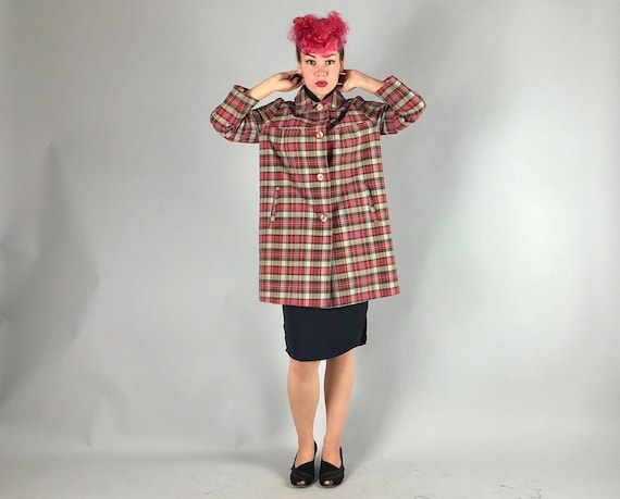Vintage 1950s Coat | 50s Red Black and Grey Gray Plaid Tartan Raincoat Slicker Swing Coat Jacket | Medium-ish
