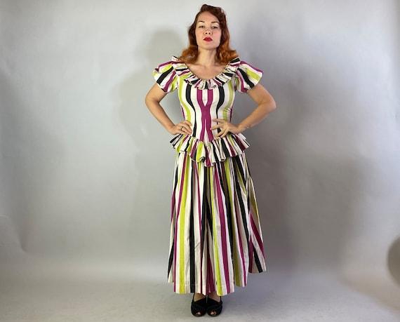 1940s Big Top Ball Gown   Vintage 40s Cotton Dres… - image 3