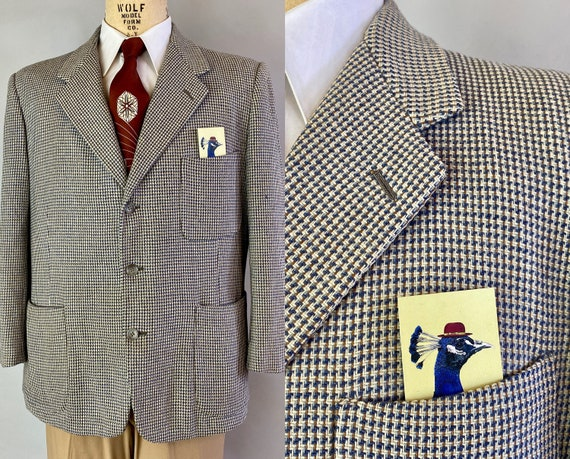 1950s Mix and Matching Marty Blazer | Vintage 50s Vibrant Blue White and Taupe Brown Tweed Wool Sport Coat Jacket | Size 44 Extra Large XL