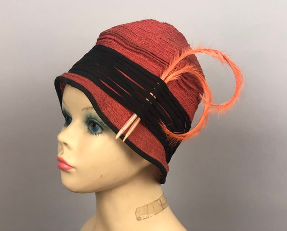 Vintage 1920s Hat | 20s Deep Salmon Coral Pink Corded Straw Ruched Cloche With Black Silk Ribbon and Burnt Curled Pheasant Feather Accents