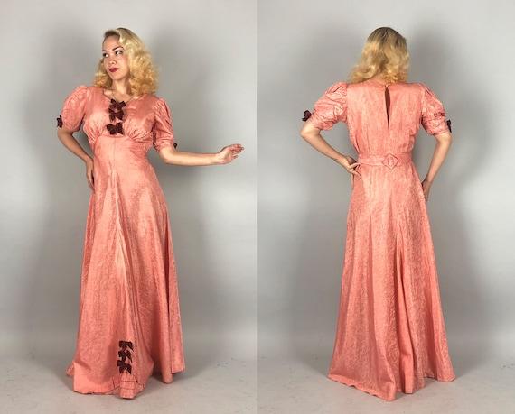 1930s Moiré Silk Gown | Vintage 30s Salmon Pink Ta