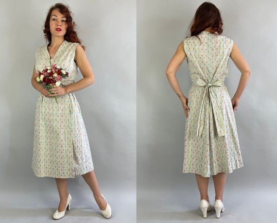 1950s Lovely Lazy Day Wrap Dress | Vintage 50s White Pink Blue Yellow Green Floral Windowpane Stripes Embroidered Cotton Frock | Large XL