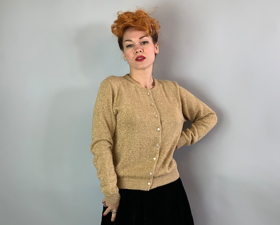 """1960s Golden Knit Cardigan 