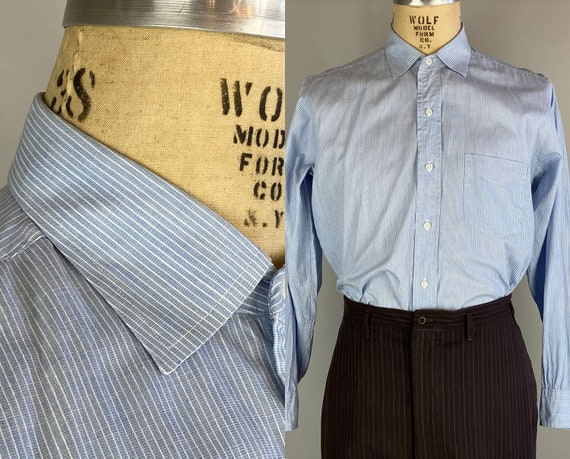 """1940s Perfect Suit Shirt   Vintage 40s Sky Blue Cotton Button Up Dress Oxford with White Stripes by """"TruVal""""   Size 15.5 Medium"""