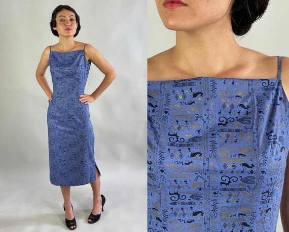 1950s Magnificent Menagerie Dress | Vintage 50s Blue Cotton Sun Frock with Black and Gold Cave Art Animal Novelty Print | Extra Small XS