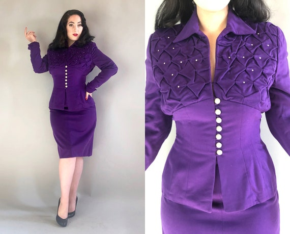 Early 1950s Lilli Ann Suit | Vintage 50s Royal Purple Wool Blazer & Skirt Evening Cocktail Set w/ Quilting and Rhinestone Accents | Medium