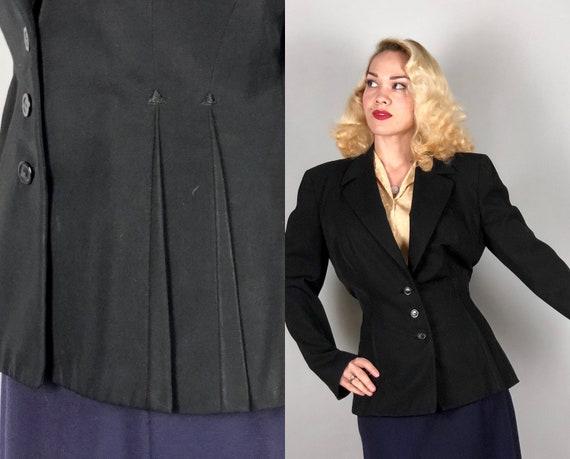 "1930s Jet Black Blazer | Vintage 30s Wool Single Breast Jacket with Art Deco Arrow Inverted Dart Shaping by ""Printzess"" | Medium Large"