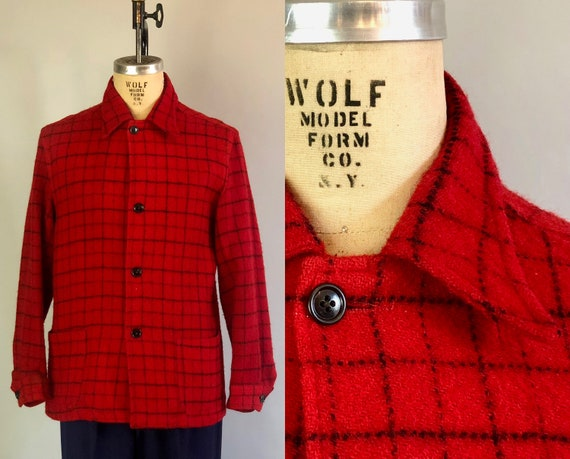 1930s Mens Red Windowpane Jacket | Vintage 30s Lumberjack Plaid Car Coat with Spearpoint Collar and Patch Pockets Made in Canada | Medium