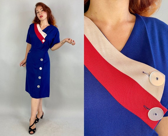 1940s Asymmetry in Motion Dress   Vintage 40s Roya