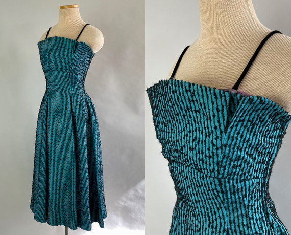 1940s Petite Peggy Party Frock | Vintage 40s Teal Silk Taffeta and Black Striped Cocktail Evening Dress with Full Skirt | Extra Small XS