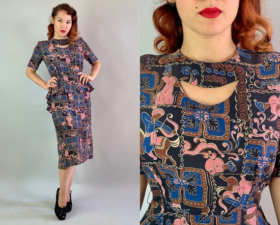 1940s Arabian Nights Dress   Vintage 40s Blue Pink Brown Ivory Black Novelty Print Rayon Frock with Full Peplum and Cutout Neckline   Small