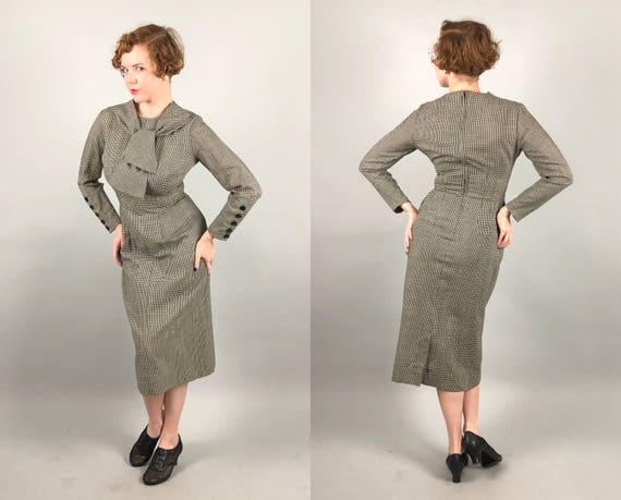 Vintage 1950s Dress | 50s 'Henry Rosenfeld' Black and White Wool Gingham Long-Sleeve Pencil Dress with Scarf Collar and Pockets! | Medium