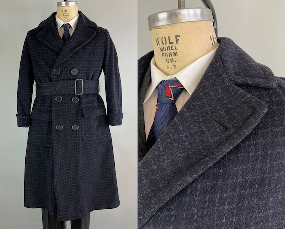 1930s Dapper Deco Dan Overcoat | Vintage 30s Charcoal Grey Wool White Windowpane Plaid Pinstripe Belted & Pleated Topcoat | Small Size 34/36