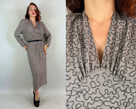 1940s Delia's Beaded Beauty Dress | Vintage 40s Gray Squiggly Design Beadazzled Long Sleeve Scallop & Gathered Waist Cocktail Gown | Large
