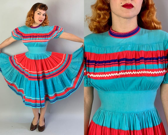 1950s Playful Patio Dress | Vintage 50s Aqua Blue & Bright Red Peasant Fiesta Frock w/Puffed Sleeves and Horizontal Stripes | Extra Small XS
