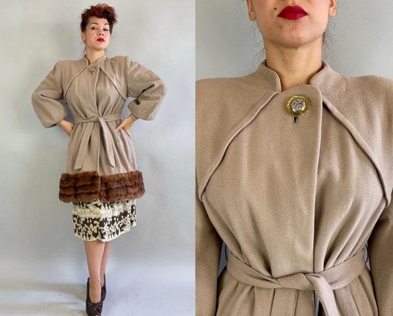 1940s Gorgeous Glamor Girl Coat   Vintage 40s Beige Wool Balloon Sleeve Overcoat with Honey Brown Mink Fur Trim and Sash Belt   Medium