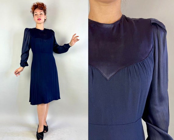1930s Shop Girl Chic Dress | Vintage 30s Navy Blue Rayon Crepe Day to Night Frock with Satin Puff Sleeves and Yoke | Small Medium