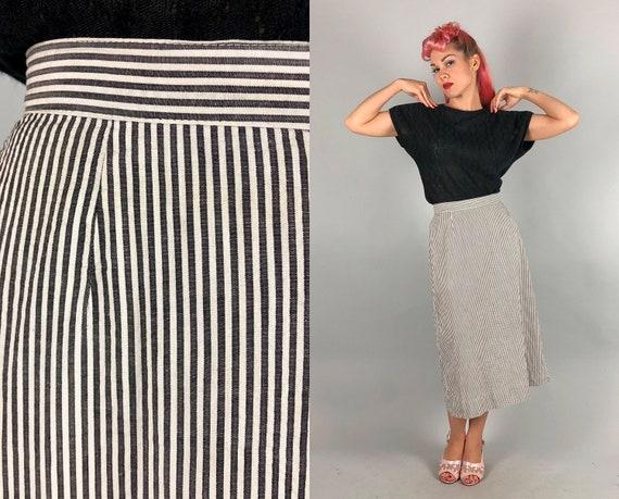 1950s Seersucker Skirt | Vintage 50s Grey Gray and White Monochromatic Cotton A-Line Skirt | Medium