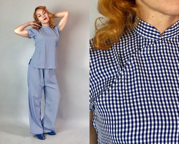 1930s Rayon Gingham Lounge Set | Vintage 30s Blue Asian Inspired Lounging Set Pajamas Cheongsam Style Shirt & Drawstring Pant | Small Medium