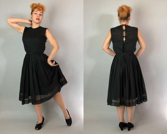 1950s Keyhole Bow Dress | Vintage 50s Black Satin and Sheer Cotton Sleeveless Fit and Flare Day to Night LBD with Back Ribbon Ties | Small