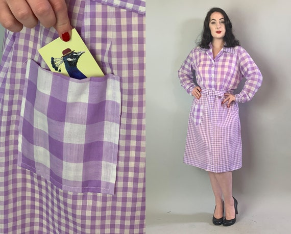 1950s Pastel Gingham Dress | Vintage 50s Sheer Purple & White Cotton Plaid Day Frock with Checker Print and Self-Belt Volup | Extra Large XL