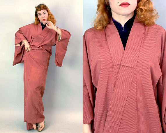 1940s Madame Butterfly Kimono | Vintage 40s Brick Red and Grey Silk Traditional Japanese Robe Coverup Loungewear Japan
