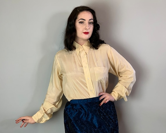 1930s Semi-Sheer Silk Blouse | Vintage 30s Off White Beige Ladies Shirt Top with Pointed Collar, Billow Sleeves, and Chest Pocket! | Medium