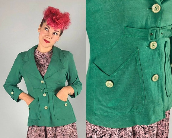1930s Kelly Green Linen Jacket   Vintage 30s Art Deco Short Coat with Self Belt and Two-Tone Green & White Buttons   Small / Medium