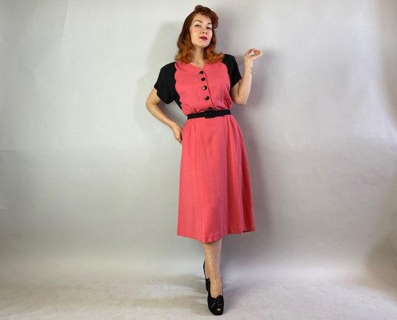 1940s Color Block Cutie Dress | Vintage 40s Coral… - image 2