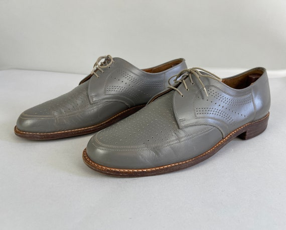 1940s Grey Ghost Shoes | Vintage 1940s Gray Ventilated All Leather Apron Toe Perforated Summer Oxfords with Incredible Broguing | Size US 10