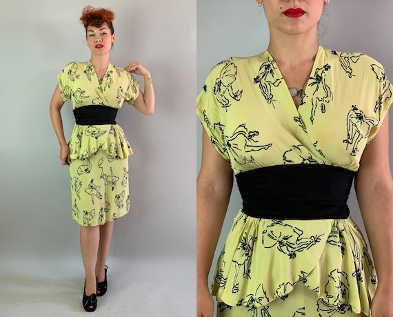1940s Prima Ballerina Novelty Print Dress | Vintage 40s Yellow Rayon w/Black Ballet Dancer Pattern & Peplum Frock | Extra Small XS