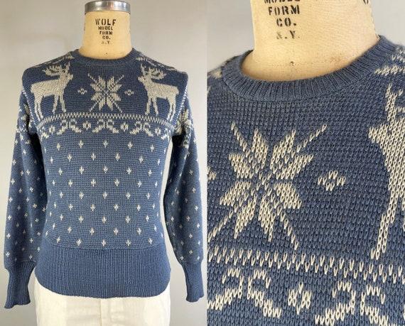 1940s Winter Wonderland Sweater | Vintage 40s Ice Blue and White Wool Knit Jantzen Reindeer & Snowflakes Novelty Pullover | Size 38 Medium